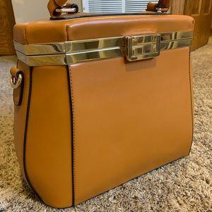 BRAND NEW Women Brown Shoulder Bag Gold Buckle